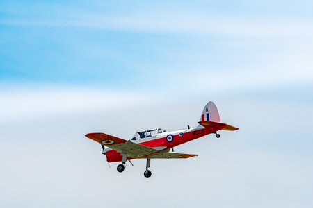 TELFORD, UK, JUNE 10, 2018 - A photograph documenting a vintage de Havilland Chipmunk aircraft at RAF Cosford as part of the RAF 100 Centenary air show celebration Redakční