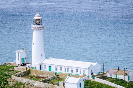 A close up view of the famous lighthouse at South Stack, near Holyhead, Anglesey, North Wales