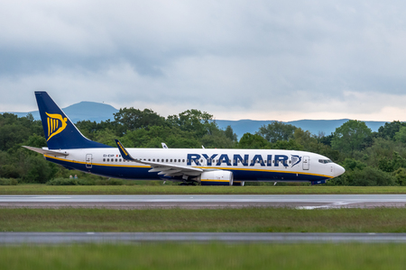 MANCHESTER UK, 30 MAY 2019: Ryanair Boeing 737 flight FR3218 to Milan takes off on runway 23L at Manchaester Airport.
