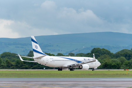 MANCHESTER UK, 30 MAY 2019: El Al Israel Airlines Boeing 737 flight LS804 to Tel Aviv holds short of runway 23L at Manchaester Airport before take off.