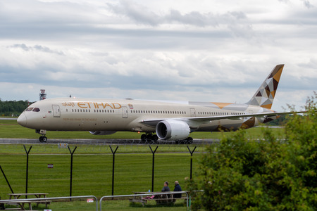 MANCHESTER UK, 30 MAY 2019: Etihad Boeing 787 Dreamliner flight EY21 from Abu Dhabi taxies at Manchaester Airport after landing