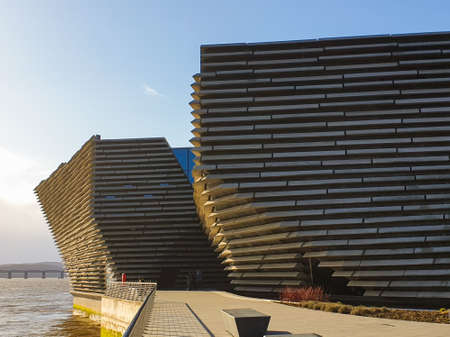 DUNDEE, UK, 18 FEBRUARY 2020: A photograph documenting the new Victoria and Albert Museum in Dundee late in the afternoon on a sunny winter day. Editorial