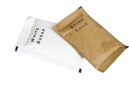 brown sugar: sugar bags Stock Photo