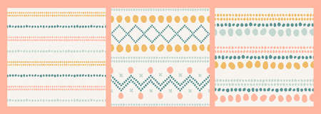Boho seamless vector patterns. Abstract ethnical hand-drawn shapes, dot stripes, crossed lines. Tribal pastel textile designs. Summer print in mustard yellow, blue and pink on a neutral background. Ilustracja