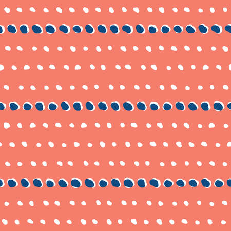 Lines of abstract spots and shapes abstract seamless vector pattern. Decorative stamped stripe design. Boho beads and stones repeating pattern in blue, white and coral red.