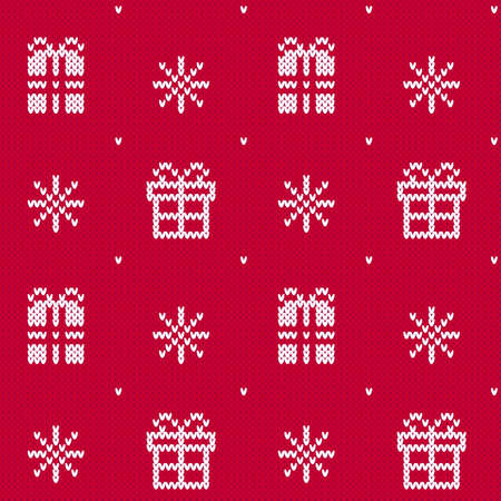 Red Christmas sweater gift box pattern. Seamless winter pattern with little white presents and white snowflakes on red background. Knitted texture backdrop. Ideal for gift wrapping and decorating.