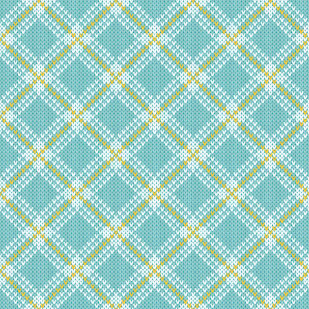 Diagonal plaid check Christmas sweater seamless pattern. Knitted diamond pattern   plaid, buffalo check style. Neutral pastel blue and white winter knitted texture backdrop.