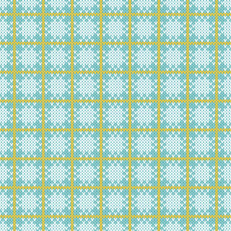 Light blue and white plaid check Christmas sweater seamless pattern. Seamless knitted pattern   plaid, buffalo check style. Neutral pastel blue, white and yellow winter knitted texture backdrop.