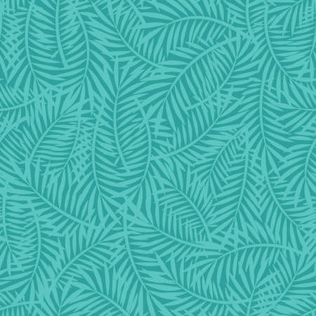 Scattered palm leaves seamless texture background. Simple summer vector pattern with palm tree branches. Bright turquoise and green textile and paper design.