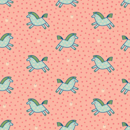 Cute little blue ponies on pink polka dot background. Hand-drawn dappled horses seamless vector pattern in pastel colors. Kidswear, nursery, baby linen.
