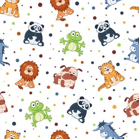 wrapping animal: Seamless pattern with stuffed toys. Cute cartoon animals background. Cat, lion, donkey, panda, frog, dog. Illustration