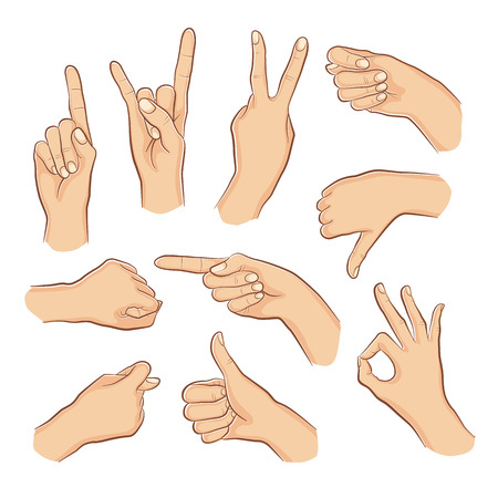 Human gestures. Woman hand outline isolated on white background. People hand signs. Ok, thumb up, thumb down, fig, victory, pointing finger, sign of the horns.