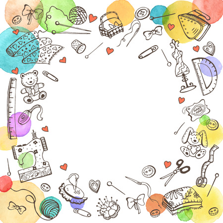 Decorative round frame from craft tools. Doodle illustration. Poster template with hobby elements and place for text. Vintage hand made items for postcards design.