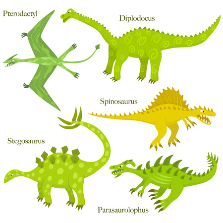 01: Cartoon dinosaurus collection. Child style dinosaurus drawing. Spinosaurus, parasaurolophus,pterodactyls; diplodocus, stegosaurus. Set 01.