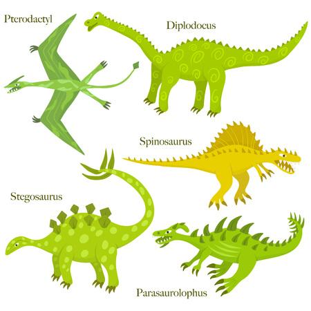 dinosaurio: Colección de dinosaurios de dibujos animados. Dinosaurus estilo de dibujo infantil. Spinosaurus, parasaurolophus, pterodáctilos; diplodocus, estegosaurio. Set 01. Vectores