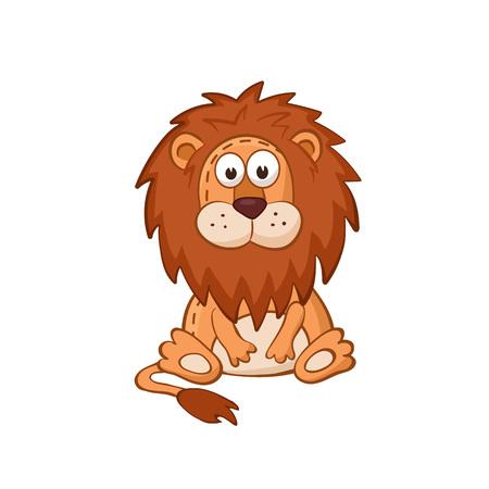 Cute cartoon animal. Cartoon lion character. Stuffed toy.