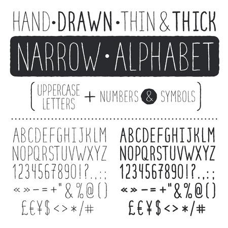 pila bautismal: Dibujado a mano alfabeto estrecho. May�sculas letras altas y delgadas aisladas sobre fondo blanco. Tipograf�a Handdrawn. Fuente garabato estrecho.