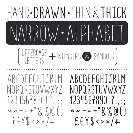 Hand drawn narrow alphabet. Uppercase tall and thin letters isolated on white background. Handdrawn typography. Narrow doodle font.