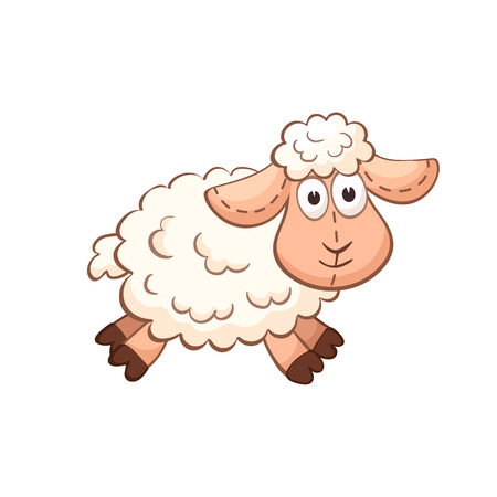 Cute cartoon animal. Cute sheep character. Stuffed toy. Illustration