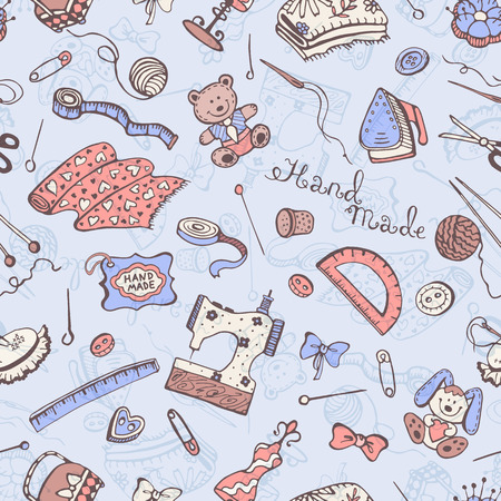 crafting: Hobby background. Crafting tools pattern. Handmade items seamless pattern.