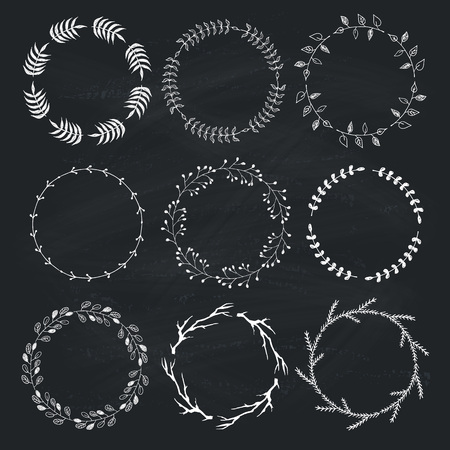 vignettes: Floral brushes for wedding invitations and postcards design. Decorative vintage floral wreath hand drawn on chalk board. Collection of decorative elements. Branches brushes included.