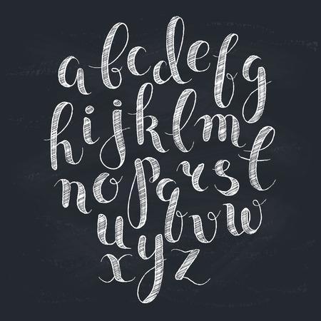 letras negras: Letras hechas a mano. Alfabeto manuscrita en la pizarra. Dibujado a mano de la caligrafía. Tipografía tiza Moderno.