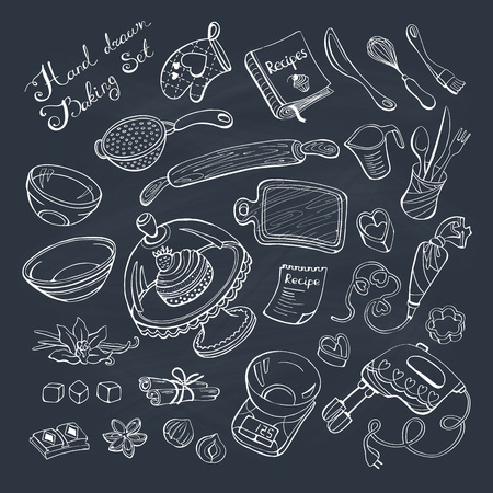 kitchen aprons: Baking items doodle set. Kitchen tools hand drawn on chalkboard.