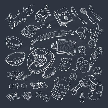 Pieczenie przedmiotów Doodle zestaw. Narzędzia kuchenne ręcznie rysowane na tablicy.