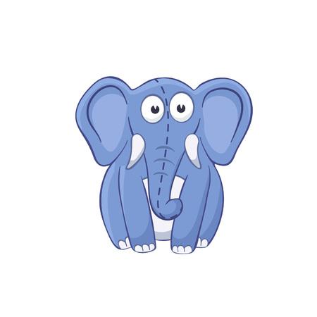 stuffed: Cute cartoon animal. Cartoon elephant character. Stuffed toy.