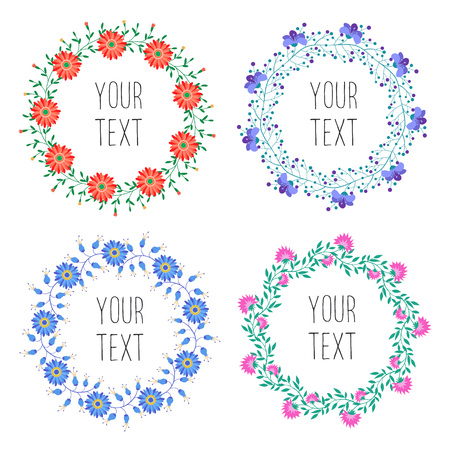 flower petals: Vintage floral wreath with text  isolated on white background. Vector badges for icon design. Floral elements for wedding invitations and postcards.