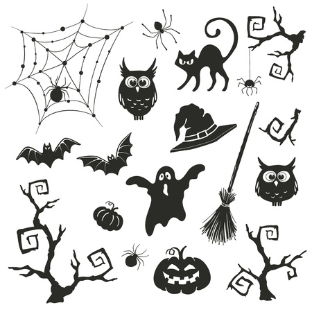 spider  net: Halloween objects set isolated on white background. Collection of branches and elements for Halloween party invitation design. Illustration
