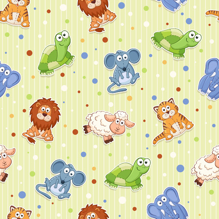stuffed toys: Seamless pattern with stuffed toys. Cute cartoon animals background. Cat, lion, mouse, elephant, turtle, sheep.
