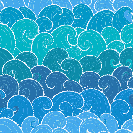 blue abstract wave: Nautical seamless pattern. Waves background. Cartoon sea pattern.
