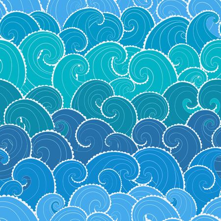 Nautische naadloos patroon. Golven achtergrond. Cartoon zee patroon.