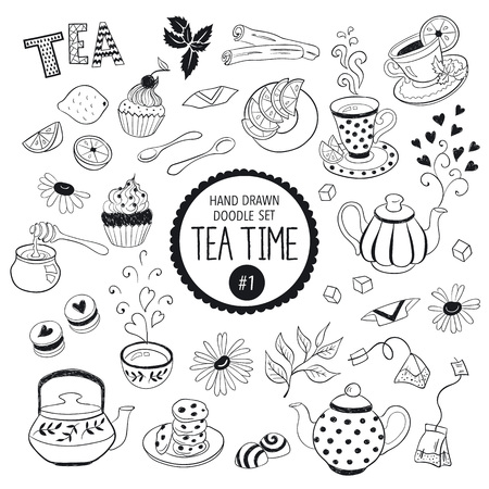 Doodle tea time elements collection. Vector set of tea icons. Teapots, cups, cupcakes and sweets.