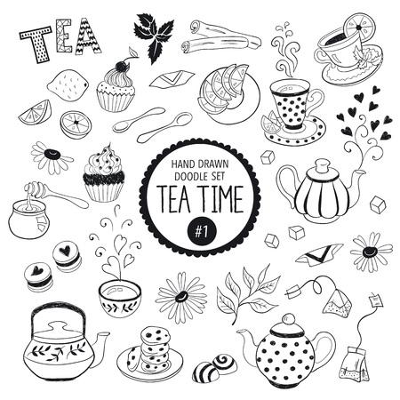 Doodle l'heure du thé éléments collection. Vector set d'icônes de thé. Théières, tasses, petits gâteaux et bonbons. Banque d'images - 45852550