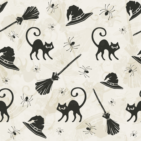 witch on broom: Halloween seamless pattern with cats, brooms and witch hats. Illustration