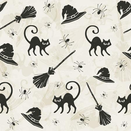 czarownica: Halloween szwu z kotami, miotły i czarownic kapelusze.