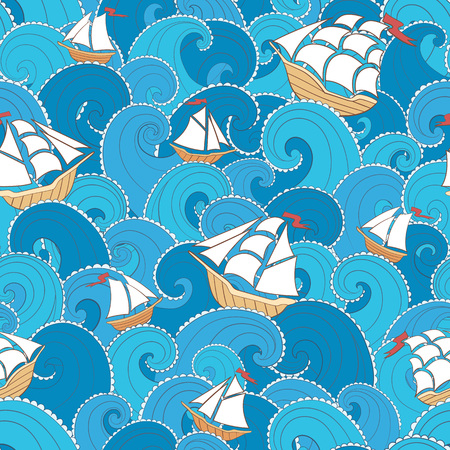 holiday summer: Nautical seamless pattern. Ships and waves background. Cartoon sea pattern.