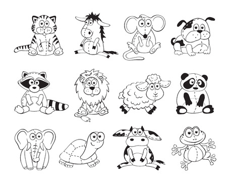 Cute cartoon animals isolated on white background. Stuffed toys set. Cartoon animals outline collection. Vettoriali