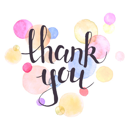 multicolour: Thank you lettering with watercolor spots on background. Modern typography. Thank you colorful greeting card calligraphy design.