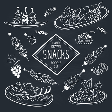 buffet: Buffet snacks doodle set. Hand drawn food icons on chalkboard. Doodle food and drinks collection. Cheese, fruits, canapes, tartalets. Illustration