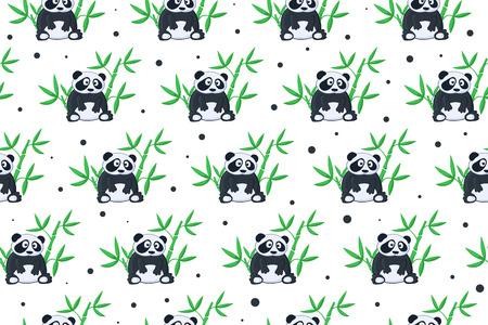 bamboo: Seamless background with cartoon panda illustration. Panda and bamboo pattern. Illustration