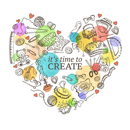 Heart from hand made tools. Doodle illustration. Craft items heart shape isolated on white background. Hobby time.