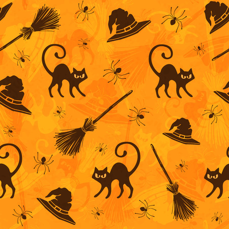 animal silhouette: Halloween seamless pattern with cats, brooms and witch hats. Illustration