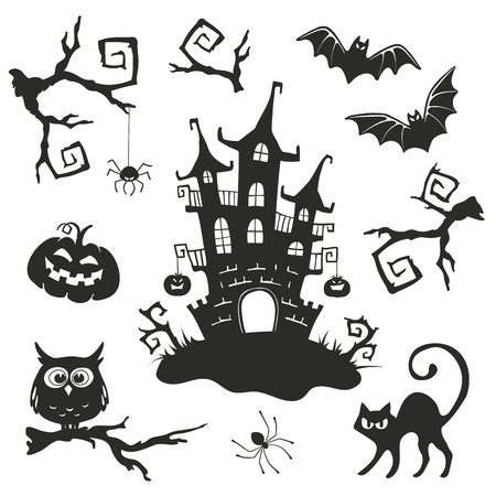 Halloween objects set isolated on white background. Collection of branches and elements for Halloween party invitation design. Vettoriali