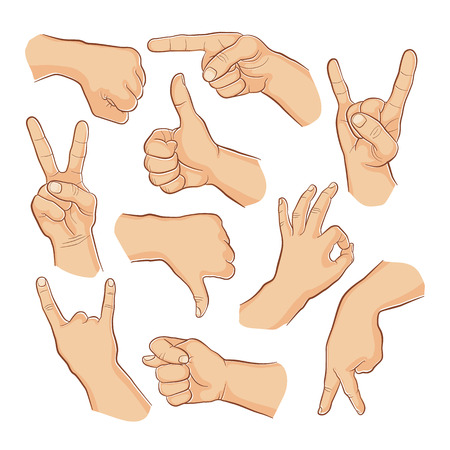 man pointing up: Human gestures. People hand signs. Man hands outline isolated on white background. Ok, thumb up, thumb down, fig, victory, pointing finger, sign of the horns.