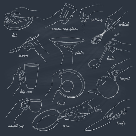 whisk: Womans hands holding kitchen items. Teapot, cup, knife, spoon, ladle, lid, whisk, plate, pan. Hand drawn vector outline on chalkboard.