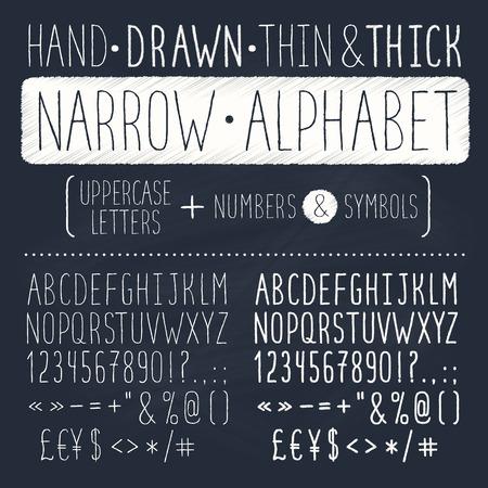 pila bautismal: Dibujado a mano alfabeto alto y estrecho. las letras may�sculas delgadas en la pizarra. handdrawn tipograf�a. la fuente del doodle estrecho.