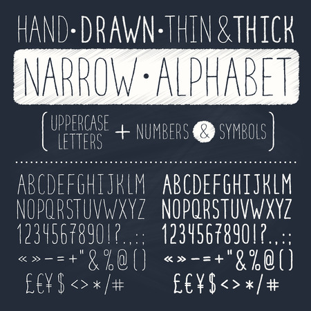 Hand drawn tall and narrow alphabet. Uppercase thin letters on chalkboard. Handdrawn typography. Narrow doodle font.